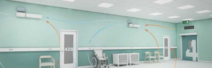 Unità di decontaminazione dell'aria a parete o a soffitto