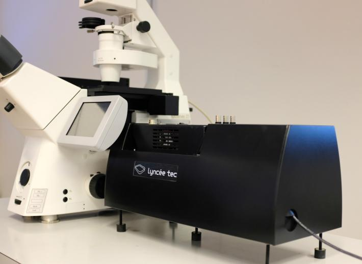 Digital Holographic Camera module attached to a fluorescence microscope