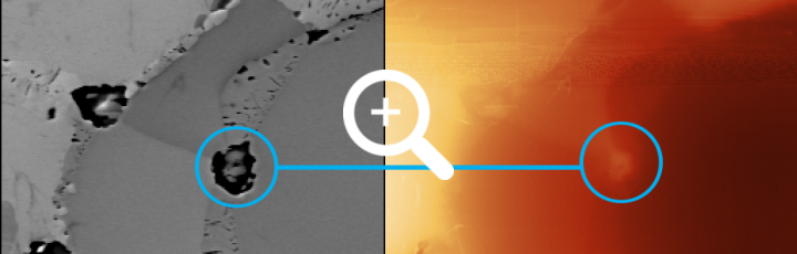 Material vs. topography contrast