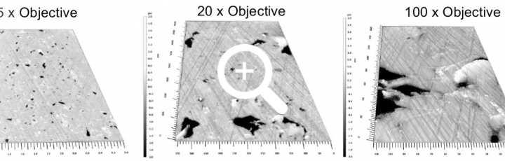 5 x - 20x, 100x magnifications